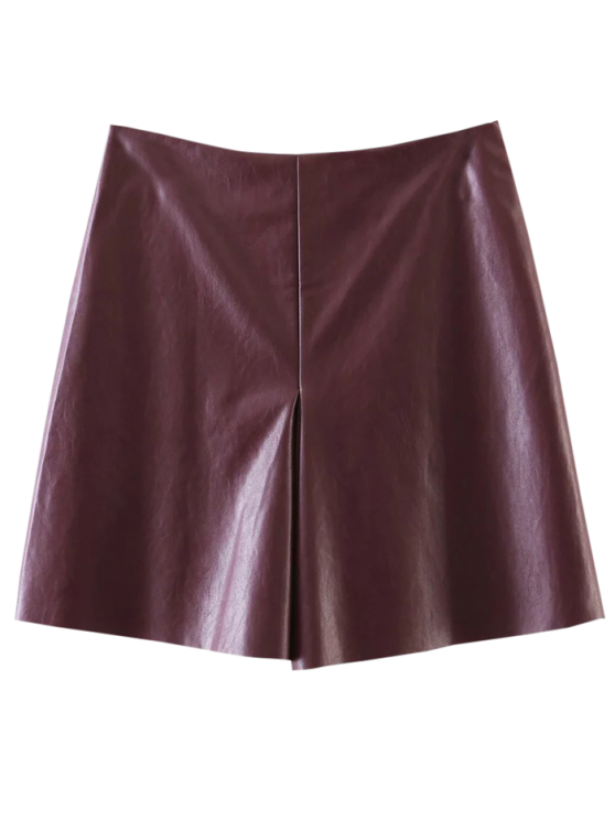 women's PU Leather Stretchy A-Line Skirt - WINE RED S