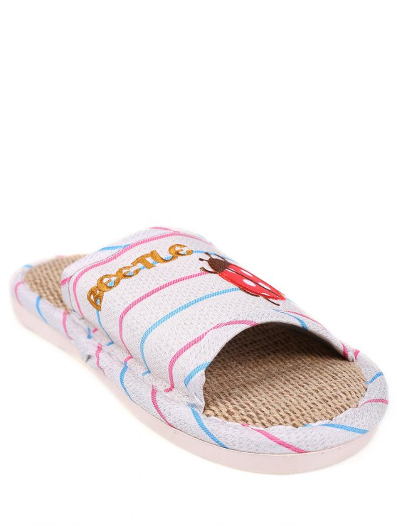 Insect Striped Jute Panel House Slippers - BLUE SIZE(40-41) Mobile