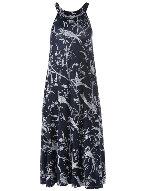 Bohemian Printed Dress with Pockets - CADETBLUE L Mobile