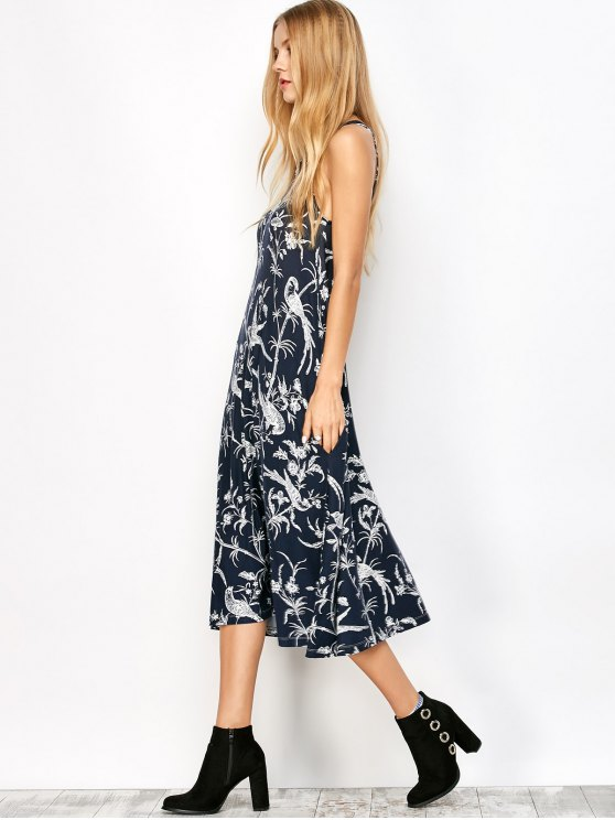Bohemian Printed Dress with Pockets - CADETBLUE S Mobile