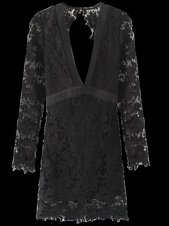 Plunge Lace Low Cut Dress - BLACK L Mobile