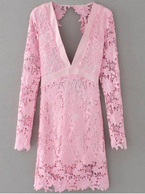 Encaje de inmersión fotografica Vestido ajustado - Rosa S