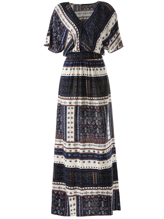 Printed Tie Back Slit Maxi Blouson Dress - PURPLISH BLUE S Mobile