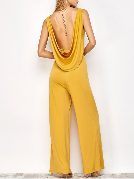 outfits Belted Backless Jumpsuit - YELLOW M
