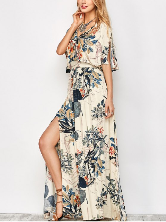 Maxi Plant Print Slit Blouson Dress - OFF-WHITE S Mobile