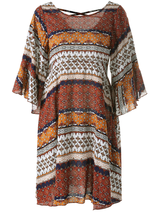 Criss Cross Tribal Print Kimono Dress - MULTICOLOR M Mobile