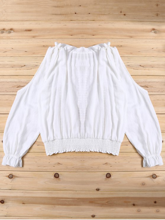 Frilled Smcoked Cold Shoulder Blouse - WHITE ONE SIZE Mobile