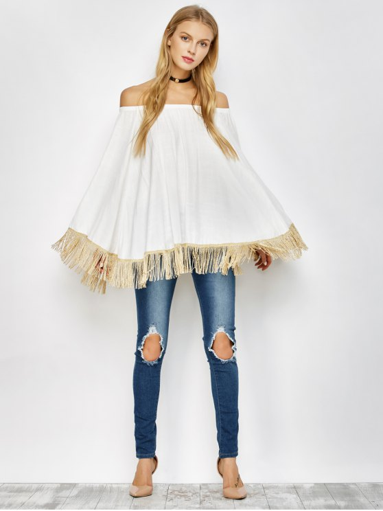 Off The Shoulder Fringe Oversized Blouse - WHITE ONE SIZE Mobile