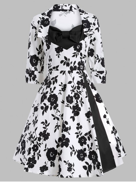 Printed Vintage Swing Dress - WHITE AND BLACK S Mobile