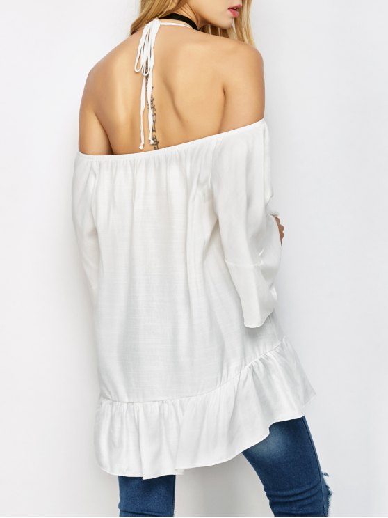Halter Print Panel Cold Shoulder Blouse - WHITE ONE SIZE Mobile