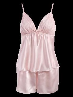 Bowknot Lace Panel Tank Top And Flounced Shorts Pajamas - Pink
