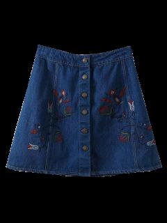 Denim Floral Embroidered A-Line Skirt - Blue L