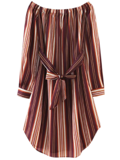 Striped Bowknot A-Line Dress - Brown L