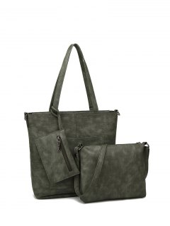 Faux Leather 3PCS Tote Bag Set - Green