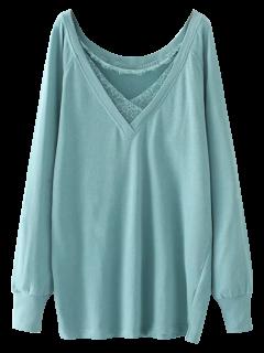 Eyelash Lace Long Pullover Sweatshirt - Light Green M