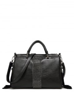 Faux Leather Fringed Rivet Handbag - Black
