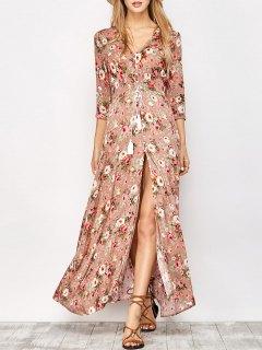 فستان  طويل إلي الرجل بالطبع و الأزرار  - الأزهار L