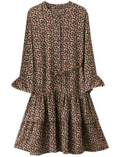 Flare Sleeve Tiny Floral A-Line Dress - Brown