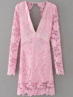 Plunge Lace Low Cut Dress - Pink S