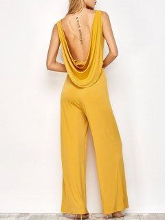 Belted Backless Jumpsuit - Yellow S