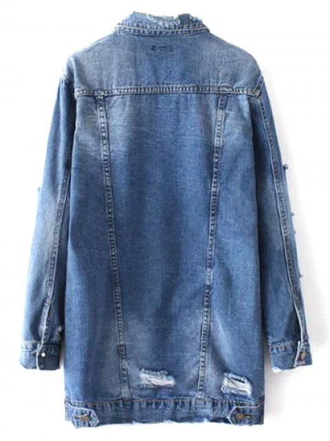 womens Bleach Wash Distressed Denim Coat - DENIM BLUE L Mobile