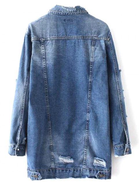 women Bleach Wash Distressed Denim Coat - DENIM BLUE M Mobile