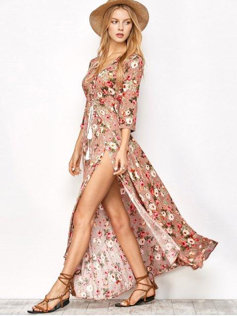 buy Front Button Maxi Floral V Neck Dress - FLORAL S Mobile