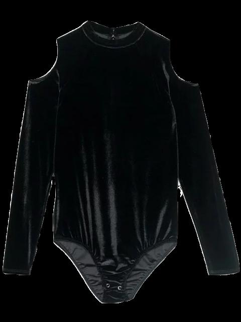 hot Snap Gusset Cutout Shoulder Velvet Bodysuit - BLACK S Mobile