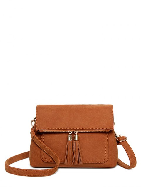 sale Suede Tassel Crossbody Bag - BROWN  Mobile