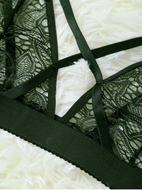 hot Strappy Hollow Out Lace Bra - OLIVE GREEN S Mobile