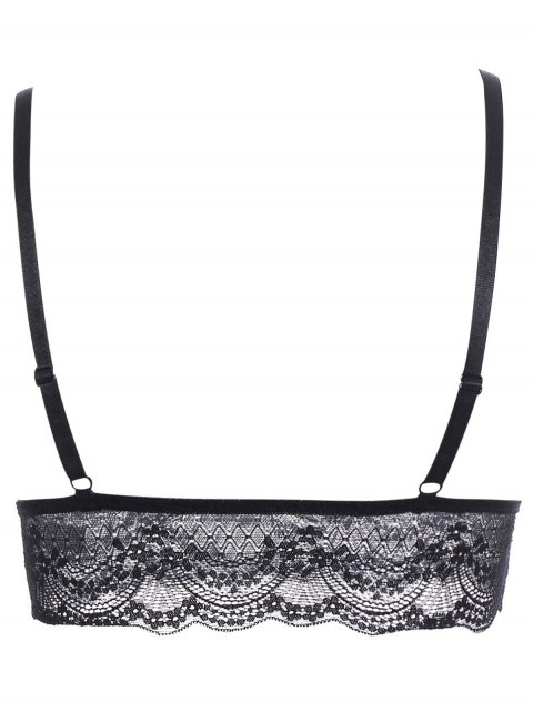 best Lace Full Coverage Longline Bra - BLACK XL Mobile