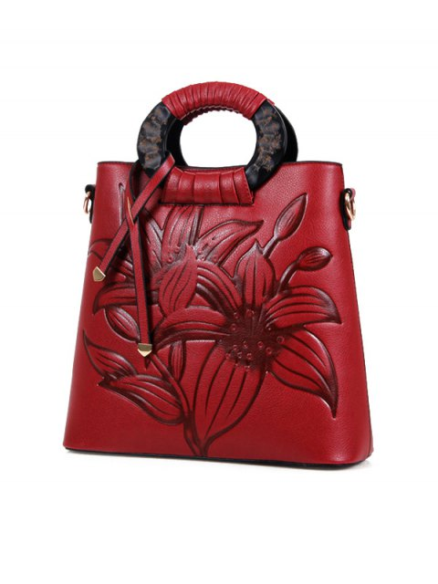 fashion Flower Embossed Faux Leather Handbag - WINE RED  Mobile