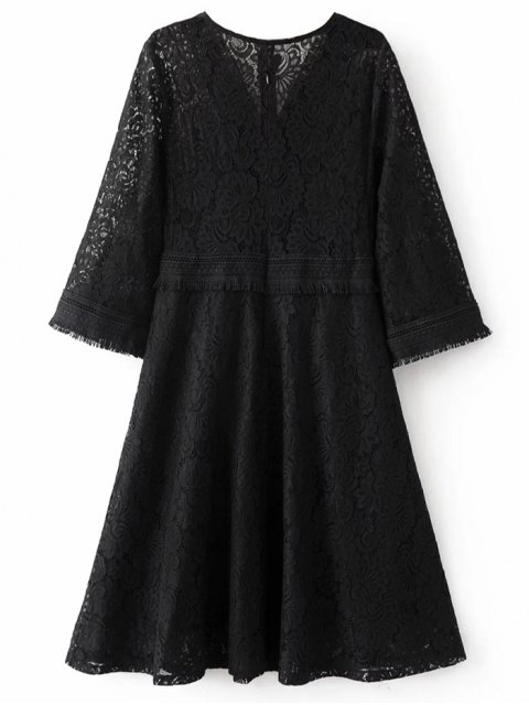 fashion Fringed Wrap Lace Swing Dress - BLACK L Mobile