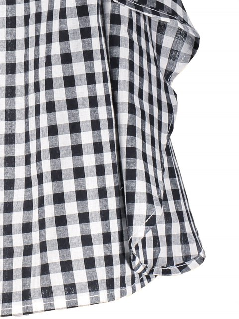 ladies Bell Sleeve Off The Shoulder Checked Dress - PLAID S Mobile