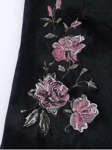 buy Floral Embroidered Velvet Shorts - BLACK L Mobile