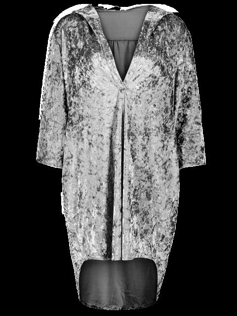 outfit Hooded Shiny Velvet Dress - GRAY L Mobile