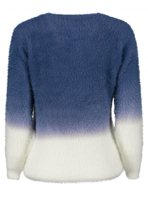 hot Ombre High-Low Sweater - DEEP BLUE ONE SIZE Mobile