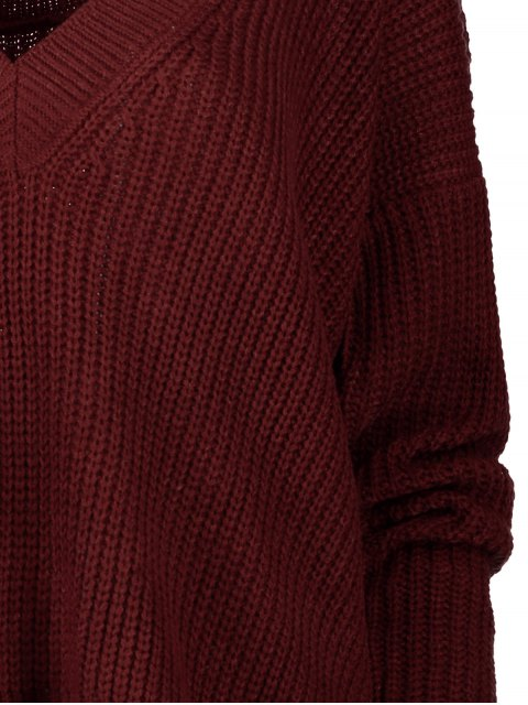 sale V Back Chunky Sweater - WINE RED ONE SIZE Mobile