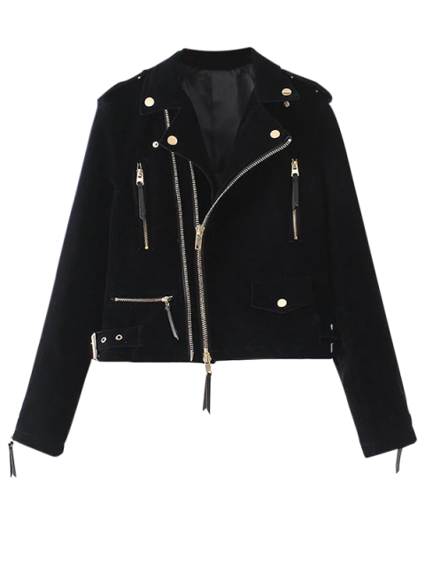 hot Lapel Velvet Biker Jacket - CADETBLUE S Mobile