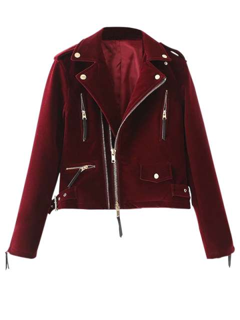 outfit Lapel Velvet Biker Jacket - BURGUNDY L Mobile