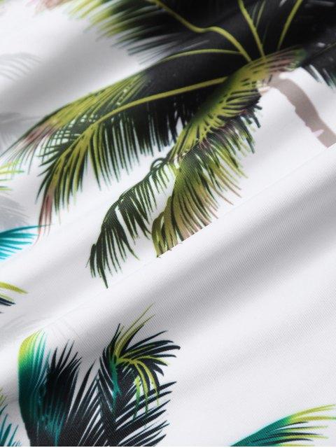 affordable Palm Tree Print High Waisted Bikini Set - WHITE L Mobile