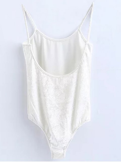 lady Skinny Velvet Bodysuit - WHITE M Mobile