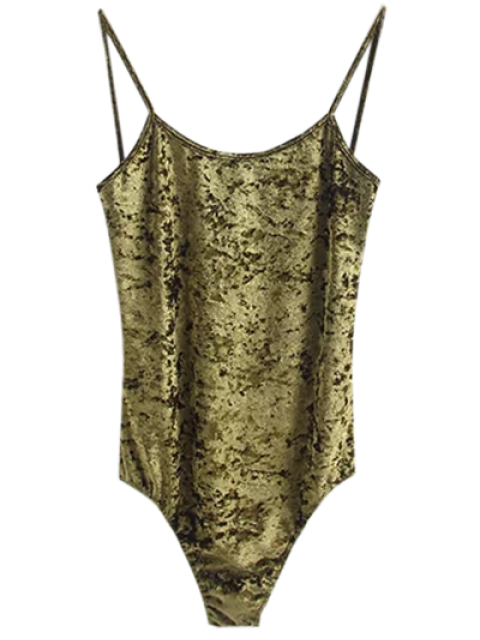 outfits Skinny Velvet Bodysuit - GREEN M Mobile