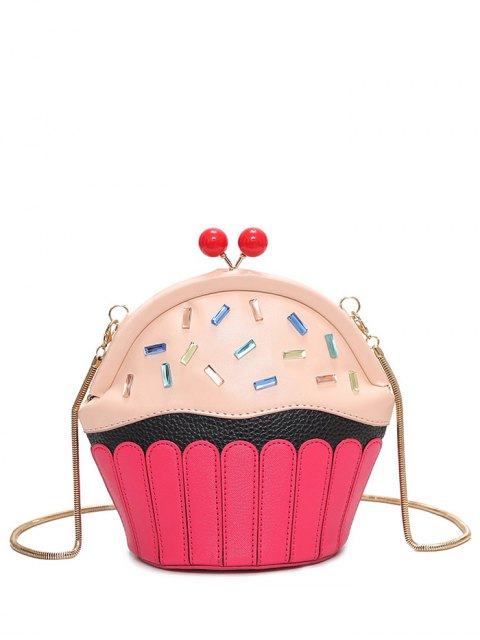 womens Novelty Cupcake Shaped Crossbody Bag - PINK  Mobile