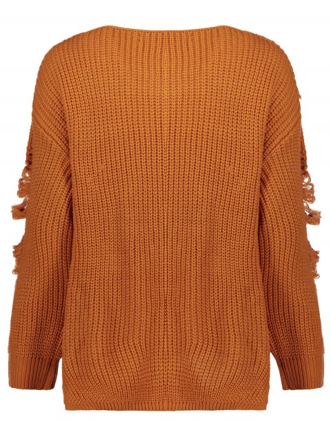 shops Loose Pullover Distressed  Sweater - EARTHY L Mobile