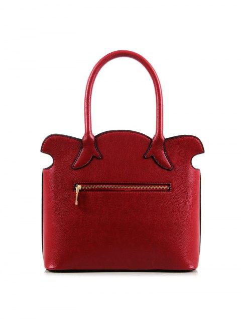 womens Flower Embossed Scalloped Handbag - WINE RED  Mobile