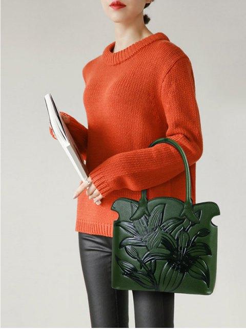 women Flower Embossed Scalloped Handbag - GREEN  Mobile