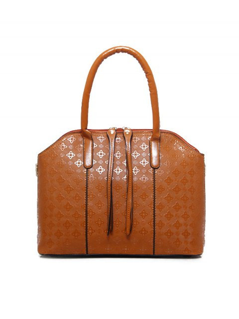 ladies 4PCS Embossed Handbag Set - BROWN  Mobile