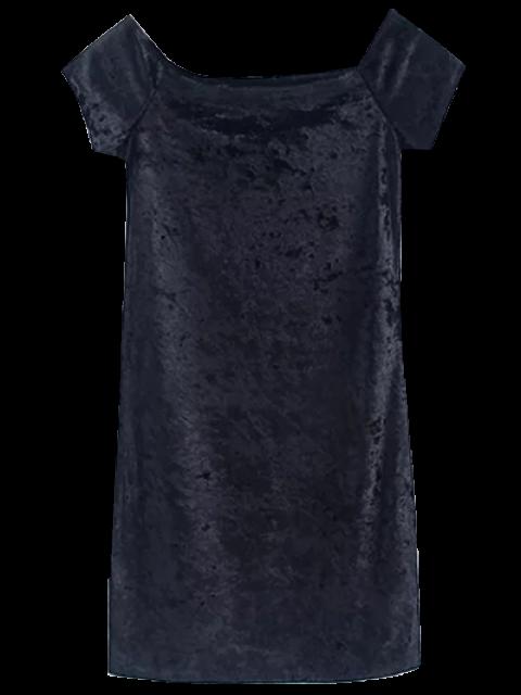 lady Casual Off The Shoulder Velvet Mini Dress - BLACK S Mobile