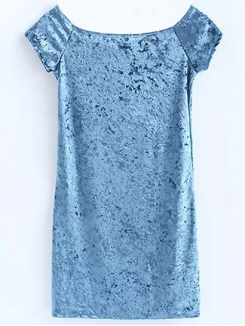 outfits Casual Off The Shoulder Velvet Mini Dress - LIGHT BLUE S Mobile